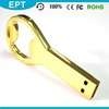 Metal Golden Color Keyshape Bottle Opener USB Flash Drive Carry Case