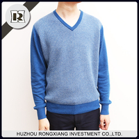 Latest sweater designs fashion blue jacquard v neck knitted men pullover sweater