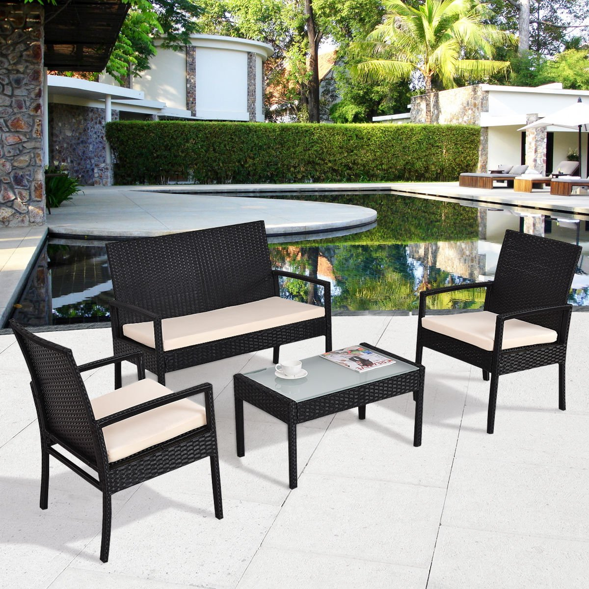 TANGKULA 4 Piece Patio Outdoor Conversation Set with Glass Coffee Table, Loveseat & 2 Cushioned Chairs Garden Lawn Rattan Wicker Patio Chat Set Outdoor Furniture Set (Black)