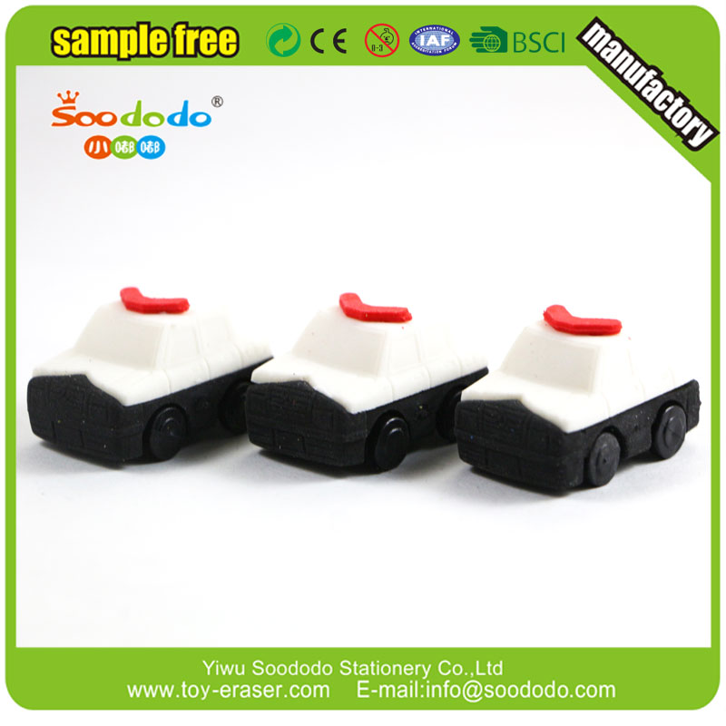 Chinese Mini Toy 3D Patrol Wagon Police Car Shaped Eraser