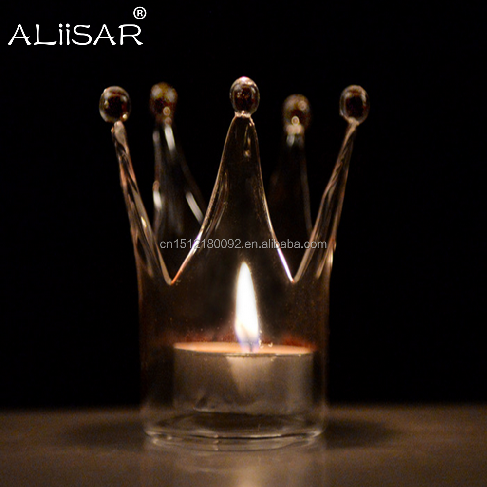 Hand Blow Crown Design Candle Holder Glass Tealight Candlestick