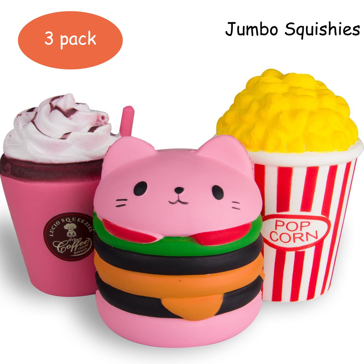 HIGO TOY 3pc Jumbo Squishies Set Hamburger Popcorn Coffee Cup Scented Slow Rising Squeeze squishies Toy Stress Relief Decorations Toy Great Gift for Adults and Kids, Party Birthday Toys