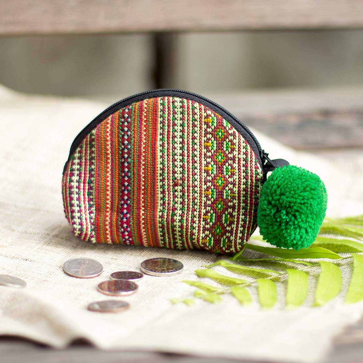 Changnoi Changnoi Unique Vintage Hmong Hill Tribe Embroidered Purse for Women, Green Pom Pom Women Coin Pouch, Gift Purse