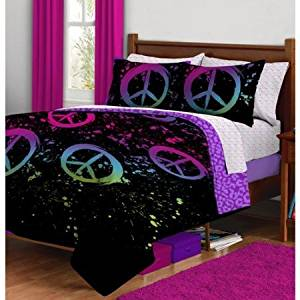 Delicieux Get Quotations · Black Purple Pink Green Peace Sign QUEEN Comforter Set Bed  In A Bag