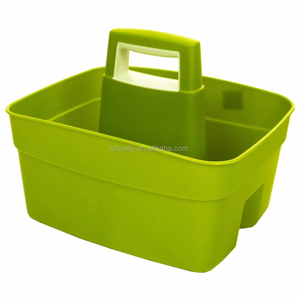 Popular Leaf Green Kitchen Caddy with Cream Insert Wholesale Durable Plastic Handy Cleaning Utility Caddy Storage Tidy Organizer