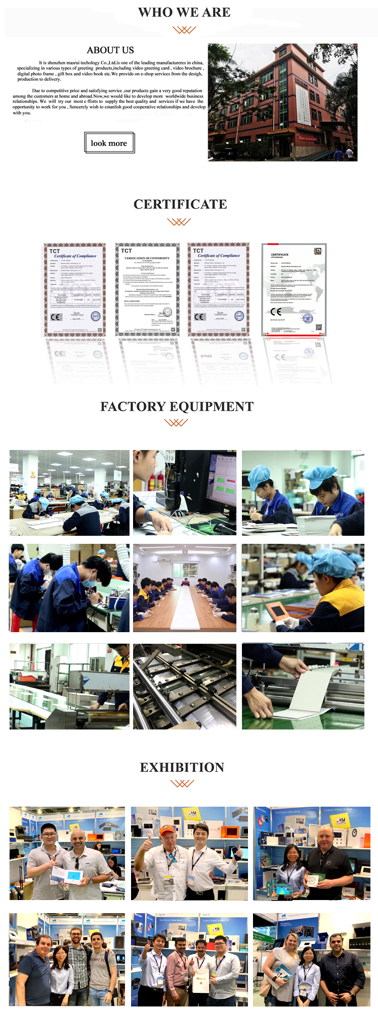 Factory price 7 inch lcd component video advertising brochure printing digital greeting card booklet for brand gift promotion