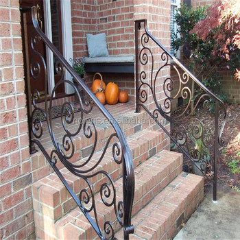 Customized Grill Wrought Iron Railing Panels Designs For Front Porch