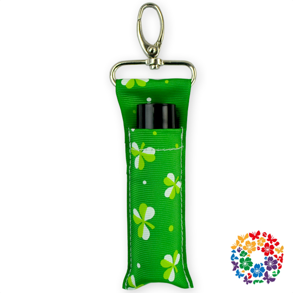 Spring Color Printing Custom Lipstick Keychain Cute Girls Chapstick Key Holder Ribbon Fabric Metal Keychain