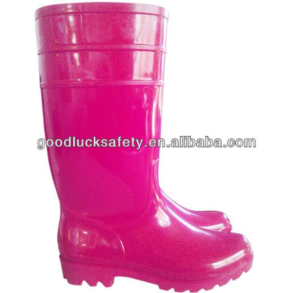 c0453c5b55b Mulheres PVC Botas de Chuva de Plástico Cor de Rosa Vermelho ...