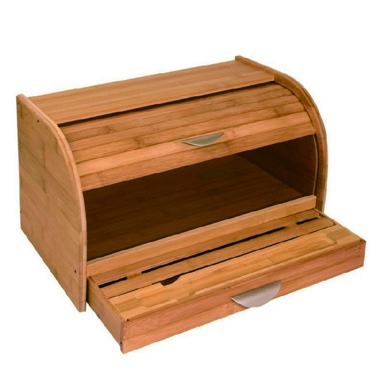 Natural Bamboo Wooden Roll Top Bread Box