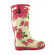 red flower spring woman rubber boot custom design boot design wellington boots