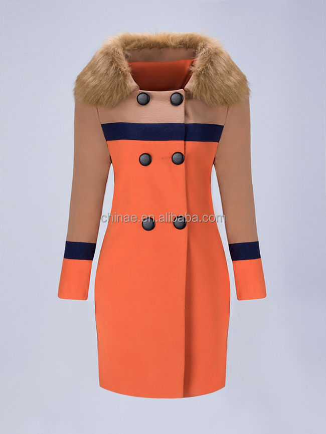 2016 Winter New Arrival Colour Block Coat With Fur Collar For Elegant Women