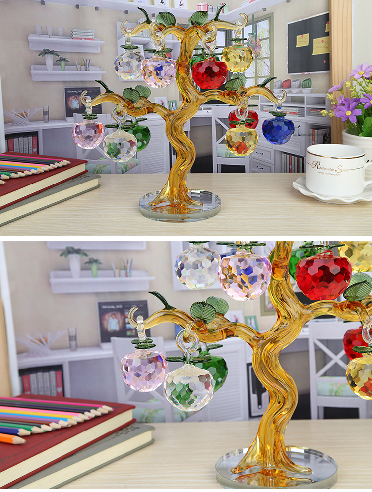 Hot Sale transparent crystal Glass Apple Tree with 18 apples for christmas decoration