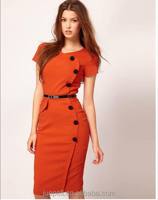 2018ファッション女性服の夏作業オフィスペンシルドレス