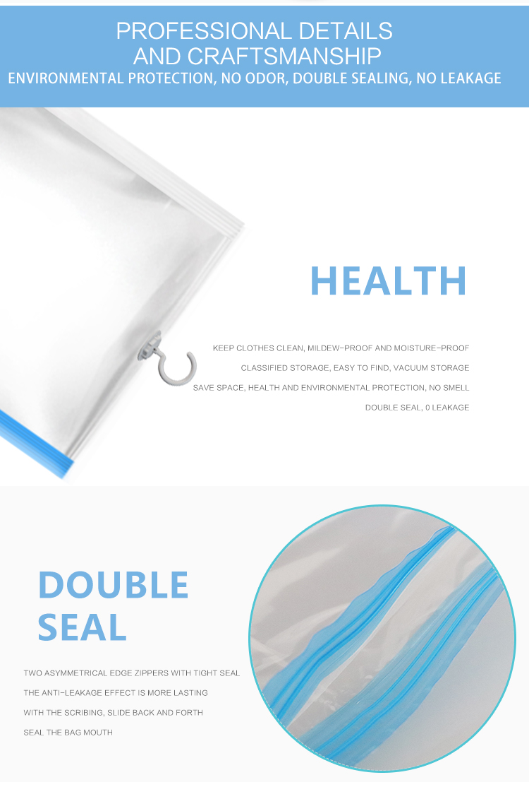 2019 new product hanging vacuum  bag for storage clothing