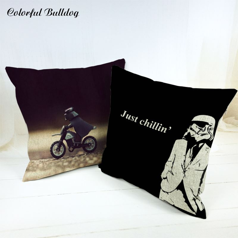 Pattern Cushion Cover Hot Star Big Wars Cartoon Character of Cartoon Films Hero Letter Steel Helmet Couch Throw Pillow Covers