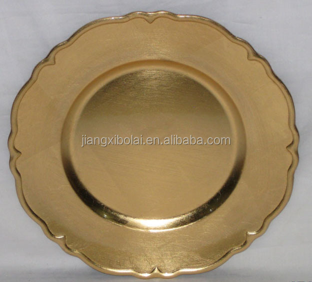Disposable charger plate/ gold charger plate plastic/ antique charger bright plate