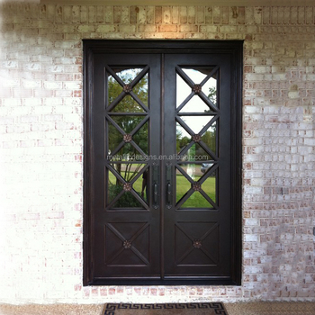 Modern Manual Main Iron Gates Door Design Wrought Iron Glass Entry