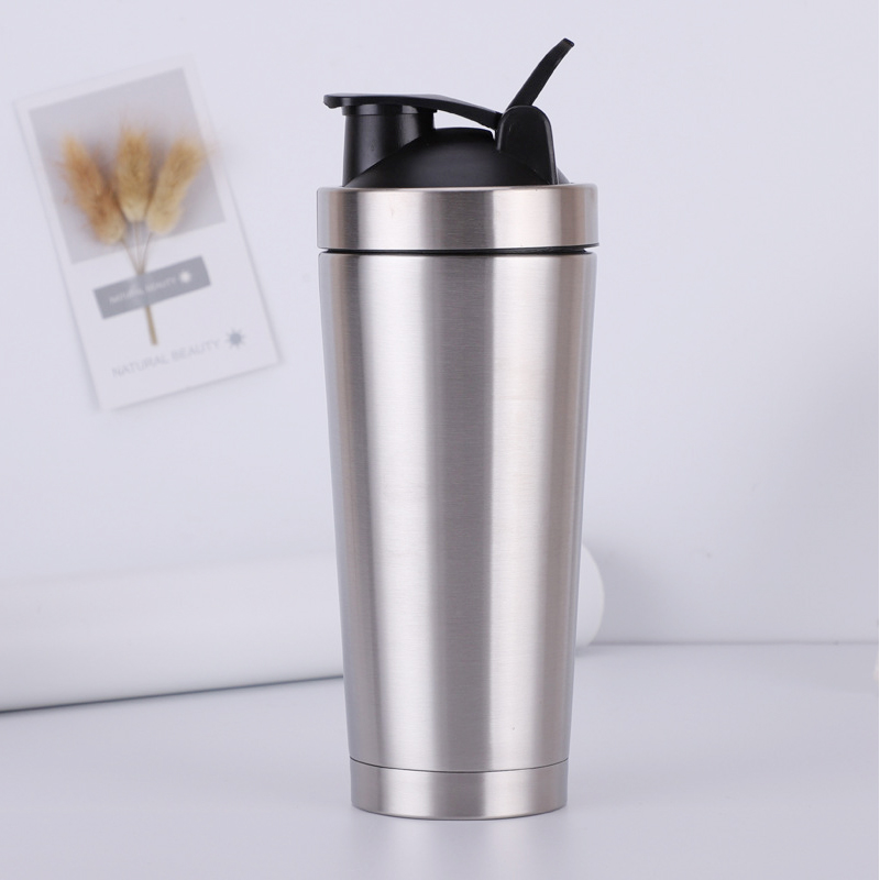 Stainless Steel Fitness Multi-Function Sports Water Bottle 750 ml Protein Powder Shake Bottle