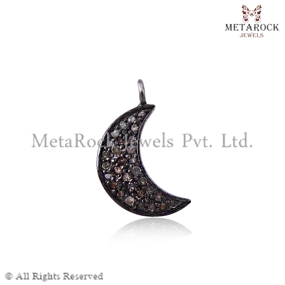 Handmade 925 Sterling Silver Diamond Pave Crescent Moon Charm