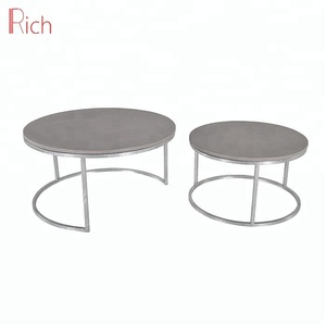 Modern Living Room Furniture Iron Frame Side Table Cement Coffee Table