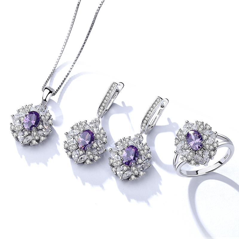 BS005 White gold fashion amethyst diamond bridal crystal wedding jewelry sets for women