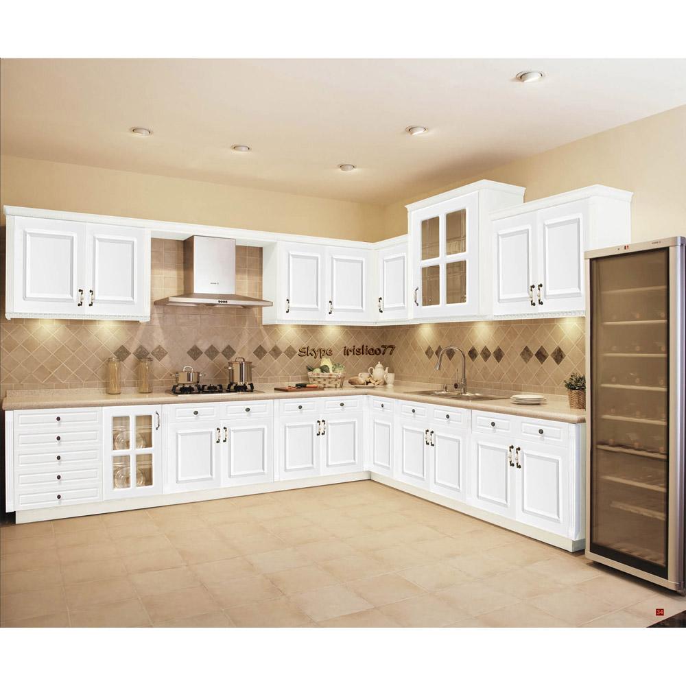 Blanco gabinete de cocina de madera maciza muebles cocinas - Muebles de cocina madera maciza ...