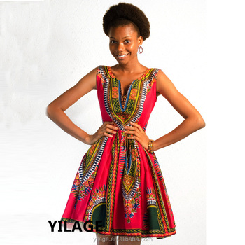 Wholesale Sexy African Dress Backless African Dashiki Print Dresses