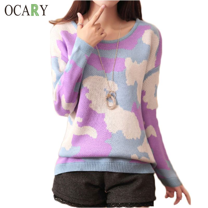 Warm Knitted Pullovers Autumn Winter Women Knitwear Tops Sweaters Print Crochet Tops Blusas Tricotado