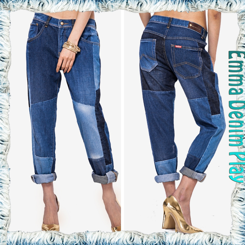 New arrival 2016 fashion big patchwork contrasting panels boyfriend jeans for women