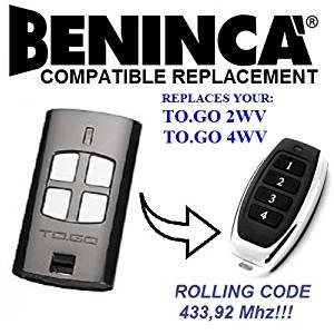 Beninca TO GO 4WV, TO GO 2WV, T2WV, T4WV BENINCA Replacement Remote Control, Top quality keyfob