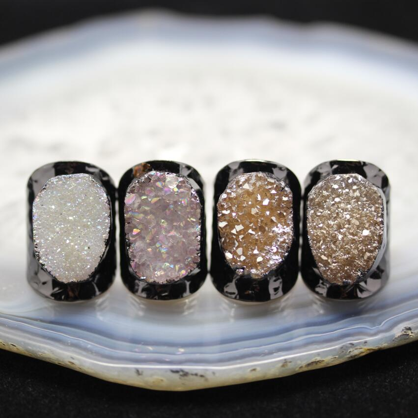 AM-YGH321 Wholesale Rings Jewelry Quartz Druzy Rings Adjustable Druzy Agate Statement Gold Ring