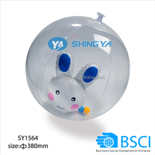 PVC inflatable clear beach ball with lovely toy inside