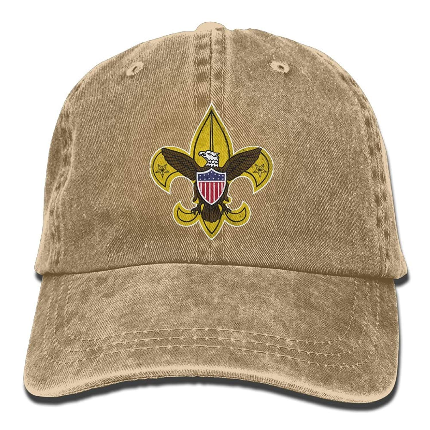 0d35a1f8c8943 Get Quotations · Boy Scouts Retro Unisex Adjustable Cotton Denim Hat Washed  Retro Gym Hat FS DMhcap Cap Hat