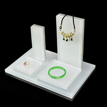 카운터 아크릴 보석 홀더 와 block design transparent 흰 플렉시 jewelry <span class=keywords><strong>링</strong></span> necklace earring 서 set units