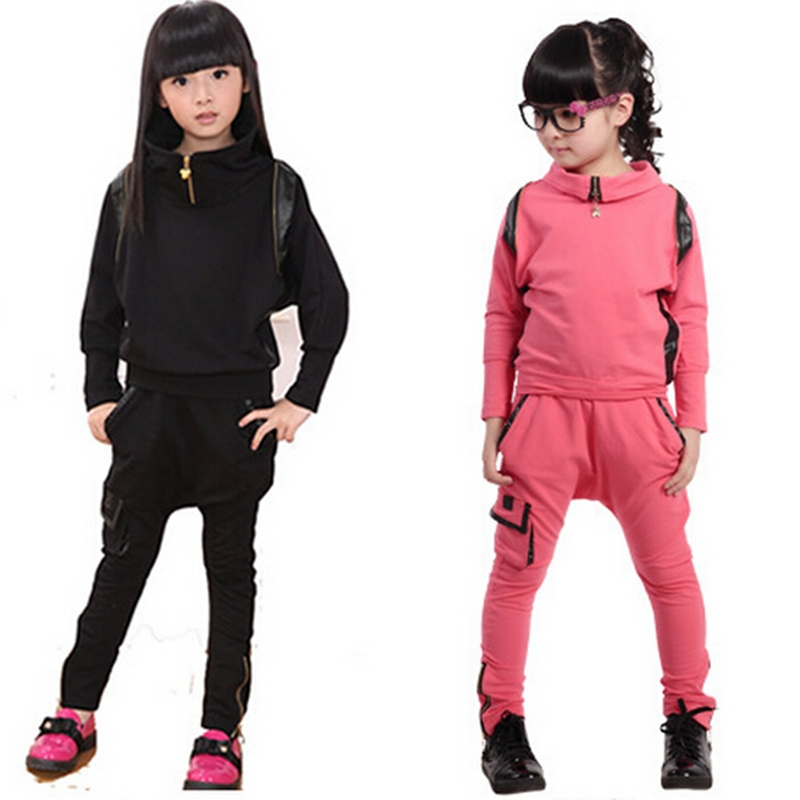 Retail 1Pc 2015 Black,Pink Children Clothing Set Long Sleeve Spring Girls Clothing Sets Autumn Baby Girls Clothes Set CC2137W