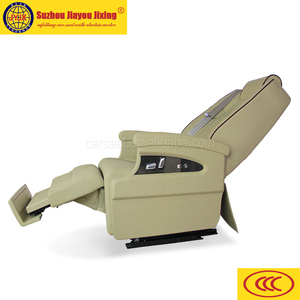 Limo leather seat with motorized footrest