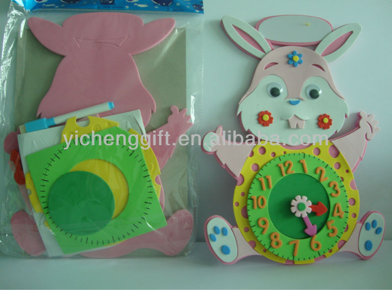 2017 Rabbit EVA DIY toys clock kids art and craft