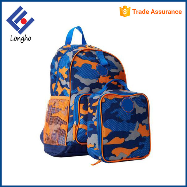 ce68f77e59 Promotion 2017 logo custom lightweight collapsible camouflage durable kids  backpack school bag and lunch bag set