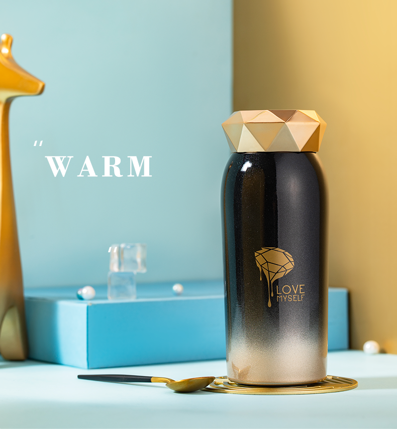 The Diamond High Class Portable Stainless Steel Water Bottle Insulated Vacuum Flasks Thermoses