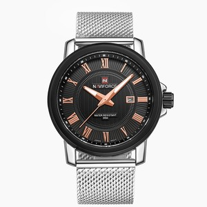 NAVIFORCE Luxury Brand 9052 Men's Quartz Watch Casual sport Wrist watches Stainless Steel Strap Silver mesh band Date waterproof