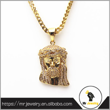 18K Gold Micro Cubic Zirconia Paved Jesus Piece Pendants