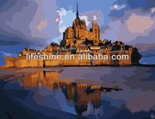 "Handmade beautiful scenery oil painting by number on canvas""Mont-Saint-Michel"""