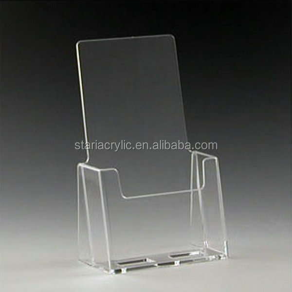 4.5 x 7.25 x 2.5 Clear Acrylic Document Holder , Single Pocket Acrylic Brochure Display Stand