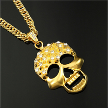 Mens Gold Skull Pendant Necklace Of Hip Hop Jewellery