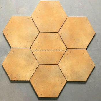 Yellow Matte Encaustic Tiles Hexagonal Art Wall Tiles Veranda Non ...