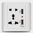 lamp switch mookality white pc Home Hotel switch socket with double USB Multifunctional Five Hole