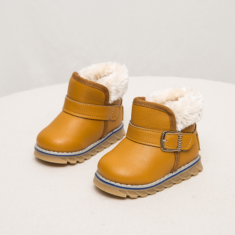 C72465A Latest Design Leather Winter Boys Shoes Kids Snow Boots