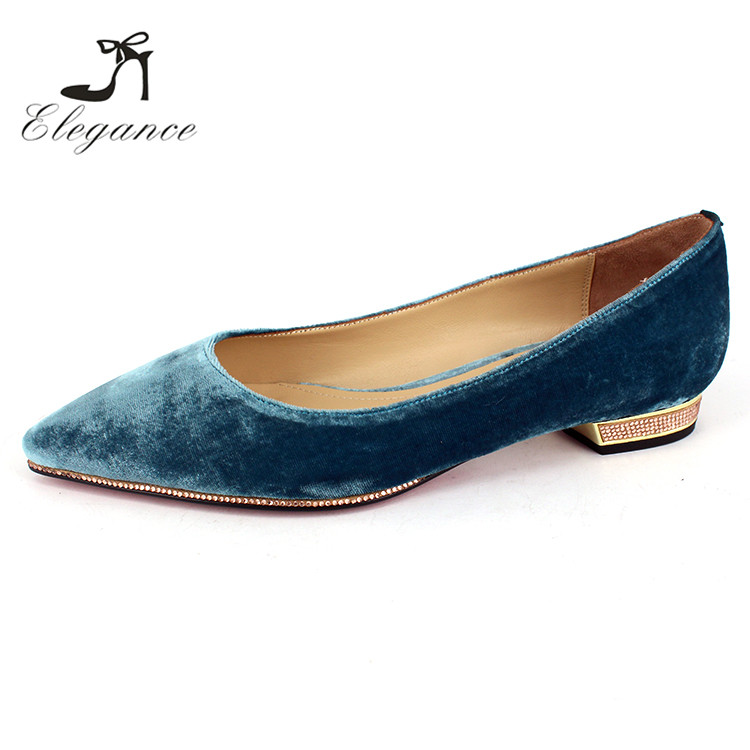 Ladies Women Elegance Ballet Light Blue Pointed Toe Crushed Velvet Flat Shoes