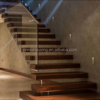 Modern Glass Railing Kit Cantilever Steel Floating Stairs